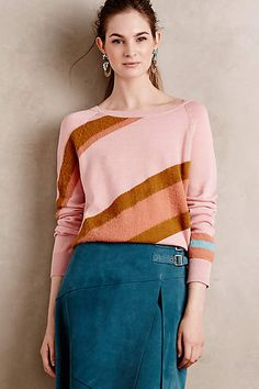 NWT Anthropologie Oblique Pullover by Moth, L, Striped Pink, Vintage and Amazing Daily Fashion, Everyday Fashion, Anthropologie, Sweater Outfits, Pink Sweater, Fashion Pictures, Autumn Winter Fashion, Autumn Style, Winter Style