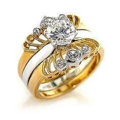 .85ct Brilliant Bridal Wedding Ring Set Gold plated Cubic Zirconia