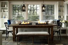 This is elegant and good idea for the space. 2 columns on each side, painted white, with shelving, bench seat with cupboards or slide out drawers. Lantern looking chandelier on top. It is the right color scheme for the space.  dining rooms – Something's Gotta Give style Something's Gotta Give kitchen built-in banquette window seat beadboard backsplash iron lanterns dining room lanterns built-ins flanking window salvaged wood dining table French cafe chairs black French