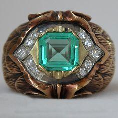 Vintage Emerald and Diamond Men's Ring