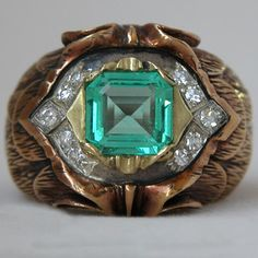 Vintage Emerald and Diamond Men's Ring