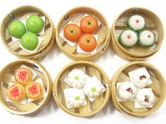 Dolls  House Miniature Food 6 Chinese Lunch Food Tim Sam Set  Supply Deco Charms - 7160. $9.99, via Etsy.
