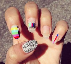 Nail Decals Color Block Test Screen and Static Tv Nail Art Set