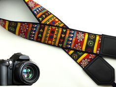 Aztec Camera strap. Tribal camera strap. Multi-color. Ethnic Camera strap. DSLR/ SLR Camera Strap. Camera accessories.