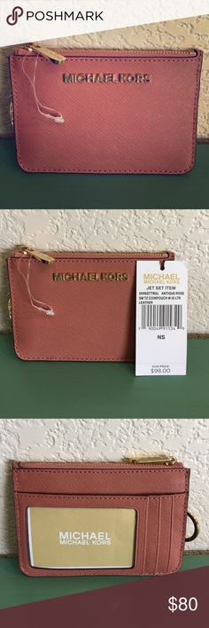 Michael Kors Jet Set Coin Pouch in Antique Rose This is NWT.  Bought this and haven't used it.  Might as well go to someone who will. This is a beautiful antique rose color.  The photos do a good job of showcasing the right color.  This has an ID slot, three card slots in front plus a place to put extra cards or money if needed. Two separate card slots inside zippered wallet and comes with attached key ring.  Price tag came off, but will be included.  Care card also will be included.  Thanks…