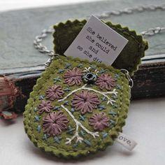 Felt Necklace Hand Embroidered Wool Felt Secret Message Pouch