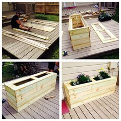Simple DIY rustic planter box out of wood fencing - Jörg Steinbeck Einfache DIY rustikale Pflanzkist Diy Wooden Planters, Rustic Planters, Wooden Diy, Garden Planter Boxes, Wood Planter Box, Garden Diy On A Budget, Diy Garden, Diy Fence, Garden Projects