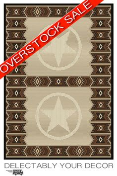 "Save $75.00 - 50% off on our ""Deal of the Day"" Clearance Sale      Very Limited Quantities!      Badges Western Rug Features: A unique tone on tone tooled leather look with 4 sheriff's badges in each of the four corner.  A western star highlights the center oval adding to the western theme any cowboy or cowgirl would love coming home too! Our western rugs are the perfect centerpiece for your rustic decor at a perfect price point!"