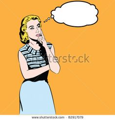 Thinking Woman - stock vector