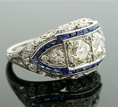 1920s Diamond Ring - Art Deco Diamond and Sapphire Ring. $15,500.00, via Etsy.    Wow!