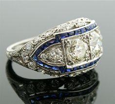 https://www.bkgjewelry.com/emerald-earrings/794-18k-yellow-gold-hoop-diamond-emerald-earrings.html 1920s Diamond Ring - Art Deco Diamond and Sapphire Ring