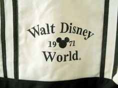 Walt Disney World White Black Canvas Tote Bag Mickey Mouse Ears 1971 Velco Close | eBay