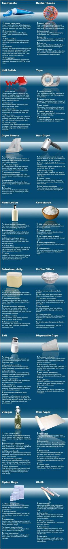Household Tips  Great ideas, especially Petroleum Jelly #5...   Plain White Toothpaste also gets Sharpie marker off hardwood floor.