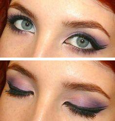 Double winged eyeliner framing a lavender smokey eye.