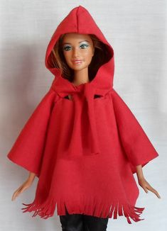 Crochet Toy Barbie Clothes Happier Than A Pig In Mud: Hooded Cape/Poncho for Barbie -Free Pattern, Tutorial, No Sew Option Sewing Barbie Clothes, Barbie Sewing Patterns, Barbie Dolls Diy, Barbie Dress, Doll Clothes Patterns, Clothing Patterns, Blouse Patterns, Diy Clothing, Doll Patterns