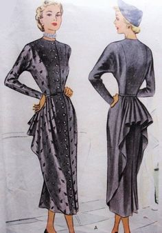 1940s Dramatic Cocktail Evening Dress Pattern McCall 7408 Film Noir Cascade Back Peplum Totally Flirty Design Bust 30 Vintage Sewing Pattern