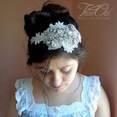 Bridal headband headpiece rhinestone gems beaded by VelvetOwl, $145.00