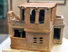 """Clay model of what is thought to be a Minoan """"Doll"""" House. c 1700 BC"""
