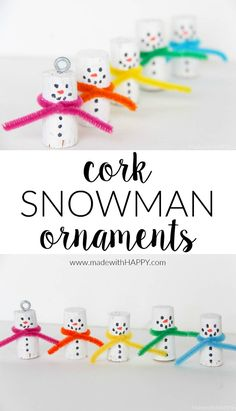 Cork Snowman Ornaments | Kids Snowman Crafts | Christmas Cork Crafts | Snowman Kids Crafts | Kids Cork Crafts | Winter Crafts for Kids | www.madewithhappy.com