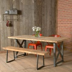 """Modern wood Bench with square steel legs (1.65""""... in Near West Side, Chicago ~ Apartment Therapy Classifieds"""