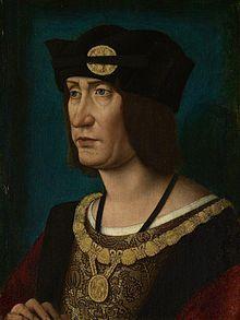 Portrait de Louis XII de France. - Georges 1° d'Amboise:  le 17 décembre 1484 les bulles le désignent évêque de Montauban malgré l'élection de Jean de Brugères par le chapitre. Il est ordonné prêtre en 1484. Il s'attache à la fortune du duc d'Orléans (roi depuis sous le nom de Louis XII). Compromis dans la révolte du duc contre la régence en 1487, il est arrêté et enfermé à Corbeil avec l'évêque du Puy Geoffroy de Pompadour.
