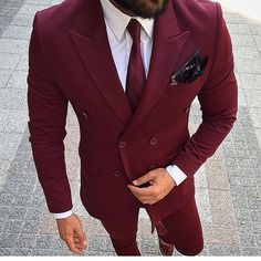 Online Shop Burgundy Wine Red Suit Men Double Breasted Men Suit Wedding Suits For Men Slim Fit Street Prom Suits Ternos 2 Piece Groom Tuxedo Groom Tuxedo Wedding, Wedding Suits, Wedding Tuxedos, Wedding Men, Trendy Wedding, Tuxedo Suit, Tuxedo For Men, Maroon Tuxedo, White Tuxedo