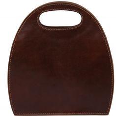 Italienische braune Leder Handtasche. Innenfutter ist aus Baumwolle. Das Innere der Tasche hat einen Kammer.Hardware: Gold Farbe (Reissverschluss) -