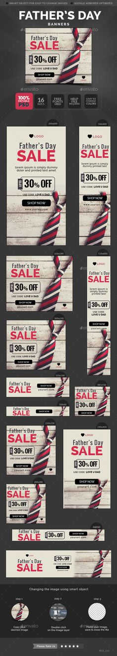 Father's Day Sale Banners Tempalte #design #webbanners Download: http://graphicriver.net/item/fathers-day-sale-banners/11698376?ref=ksioks