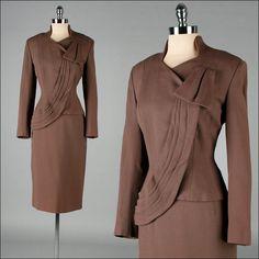 Vintage 1940s Skirt and Jacket . 2 pc Suit . Brown Wool Blend . Asymmetrical Hem . Lilli Ann