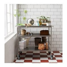 IKEA - FLYTTA, Kitchen cart, Gives you extra storage in your kitchen.Lockable casters for high stability.The rails can be used for hanging towels or used with GRUNDTAL S-hooks for convenient storing of kitchen utensils.