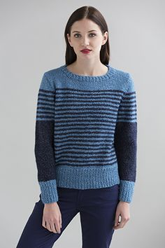 This easy striped pullover can transition between seasons thanks to trans-seasonal cotton-blend yarn Zona.