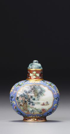 A FAMILLE-ROSE PORCELAIN 'LANDSCAPE AND IMPERIAL POEM' SNUFF BOTTLE ATTRIBUTED TO TANG YING, SEAL MARK AND PERIOD OF QIANLONG