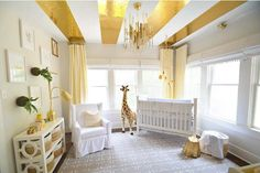 for Gold This gender neutral gold nursery just sparkles! How fab are those gold ceiling stripes?This gender neutral gold nursery just sparkles! How fab are those gold ceiling stripes? Gold Nursery, Yellow Nursery, Baby Nursery Neutral, Nursery Room, Nursery Decor, Nursery Ideas, Project Nursery, Room Ideas, Decor Ideas