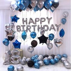 OSG Crafters Happy Birthday Letter Foil Balloon Set of Silver + Pack of 30 HD Metallic Balloons (Blue, Black and Silver) (Blue, Pack of Happy Birthday Foil Balloons, Birthday Balloon Decorations, Balloon Party, Decoration Party, Balloon Birthday, Balloon Ideas, Blue Party Decorations, Balloon Banner, Metallic Balloons