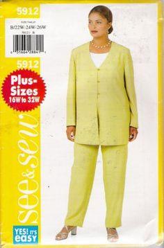 Plus Size Patterns For Women | Women's Tunic & Pants Plus Size Sewing Pattern Size 22-26 Butterick ...