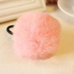 Amazon.com : TOOGOO(R) Pink Pom Pom Decor Black Stretchy Band Hair Tie Ponytail…