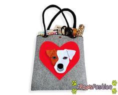 Jack Russell Terrier Felt Tote. Handmade Shoulder Bag. Long Handles. Dog Design. Everyday use. 4PawsFashion