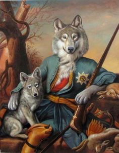 """Sir Wolf and Son - An odd one: dad is clothed and sitting like a human, son is not. (comment from previous pinner, but I think it is because """"son"""" still has to be taught...)"""