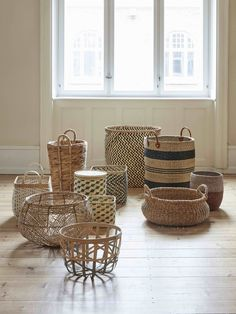 Woven bags and baskets are great storage solutions, as well as bringing a natural, Nordic feel to your space. Whether tucked in the corner as storage or a collection of baskets, these are fashion and function.