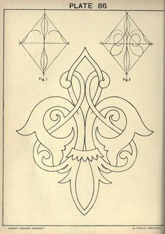 see site for many more - 1895 - Cusack's freehand ornament. A text book with chapters on elements, principles, and methods of freehand drawing, for the general use of teachers and students . by Armstrong, Charles Mehr Pattern Art, Pattern Design, Stencil Patterns, Diy Planner, Molduras Vintage, Stencils, Teacher Ornaments, Ornament Drawing, Leather Pattern