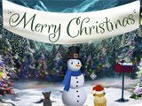 Looks like our little friends could use a hand. Click on the largest snowball. Those snowballs are pretty heavy. Help by dragging the snowballs into place. Almost done! For some finishing touches, click the snowman. (animals are humming) We wish you a Merry Christmas… …and a happy new year!