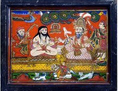 Hinterglasbild Indien, 19. Jahrhundert, Art Brut, Kandinsky, Comic Books, Comics, Cover, Painting, Indian, Paintings, Corning Glass