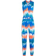 Tart Collections - Harli Printed Stretch-modal Jersey Jumpsuit (60 BAM) ❤ liked on Polyvore featuring jumpsuits, blue, draped jumpsuit, blue jumpsuit, one shoulder jumpsuit, wrap jumpsuit and colorful jumpsuit