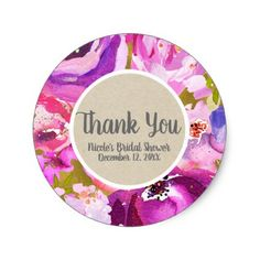 Pops Of Pink Purple Gold Modern Trendy Floral Chic Classic Round Sticker - bridal gifts bride wedding marriage