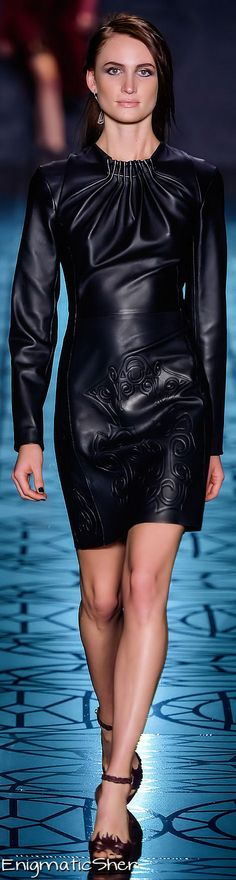 #Animale Fall_Winter 2014 Ready_To-Wear. The moment I saw this fabulous expression of black leather and #exquisite design, I just had to share it with you. I have yet to come across anything like it. The pleats along the neckline, the clever cut of the dress itself, all serve to highlight the smooth movements of a beautiful woman. I believe this dress should be high in high regard. #black leather #classic fashion #designer couture #couture clothing #runway #fashion week