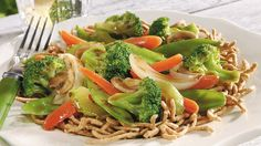 Serve stir-fried veggies over chow mein noodles for a hearty Asian dinner that's ready in 30 minutes.