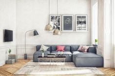 scandinavian living room design ideas chrome light fixtures black floor lamp modern gray sofa wood floor