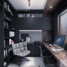 A home office might not get a lot of non-work related use but just because you have to work in there doesn't' mean it can't have great style! Here are some home office decorating ideas that will give your room… Continue Reading → Corporate Office Design, Office Interior Design, Office Interiors, Office Designs, Small Office Design, Interior Office, Closet Designs, Bathroom Interior, Modern Home Offices