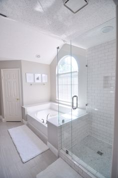 """Master bath Wall color: Benjamin Moore Revere Pewter Tile: Lowe's Leonia Silver (Mapei Warm Gray grout) Shower floor: Home Depot Greecian White 1"""" hexagon tiles Shower tile: Home Depot 3x6 subway tile (Mapei warm gray grout)"""