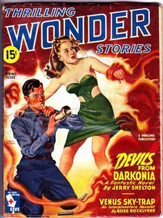 """THRILLING WONDER STORIES (Spring 1945) includes """"Baby Face"""" by Henry Kuttner."""